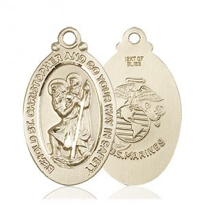 St Christopher Marines Pendant 14 Kt Gold 90055