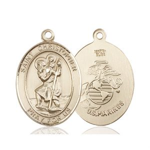 St Christopher Marines Pendant 14 Kt Gold 90158