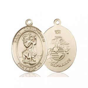 St Christopher Marines Pendant 14 Kt Gold 90266