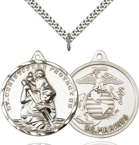 St Christopher Marines Pendant Xl Sterling Silver 89743