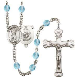 St Christopher Marines Rosary Aqua Beads R15576