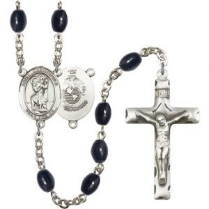 St Christopher-Marines Rosary - Black Onyx Beads (#R15591)