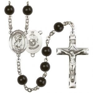 St Christopher-Marines Rosary - Black Onyx Beads (#R15592)