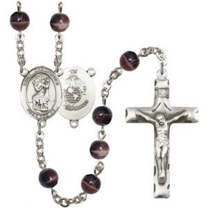 St Christopher-Marines Rosary - Brown Beads (#R15589)