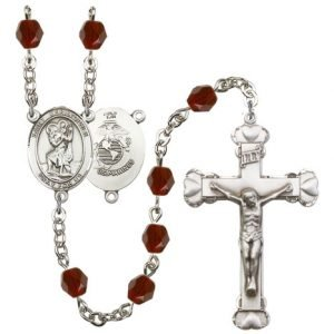 St Christopher Marines Rosary Garnet Beads R15579