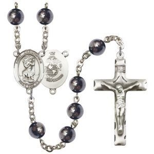 St Christopher Marines Rosary Hematite Beads R15588