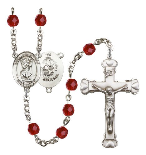 St Christopher Marines Rosary Ruby Beads R15583