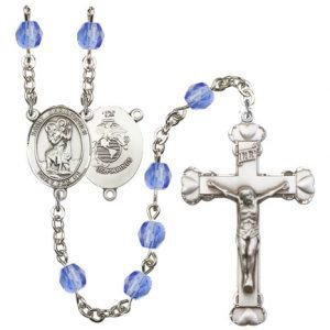 St Christopher Marines Rosary Saphire Beads R15584