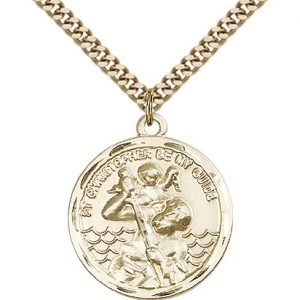 St Christopher Medal - 14 Karat Gold Filled - Large, Engravable (#81569)