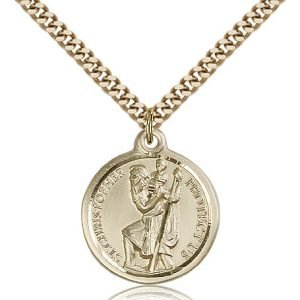 St Christopher Medal 14 Karat Gold Filled Large Engravable 81585