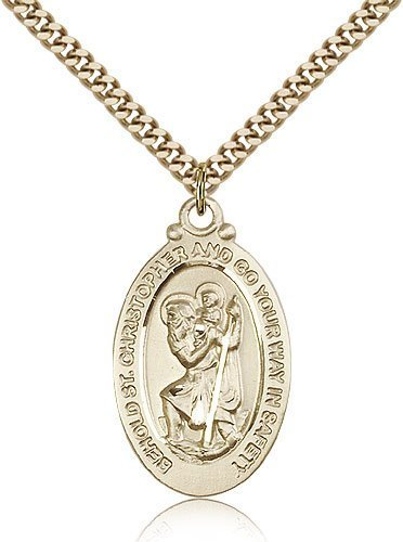St Christopher Medal 14 Karat Gold Filled Large Engravable 81779