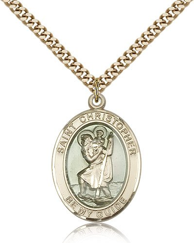 St Christopher Medal 14 Karat Gold Filled Large Engravable 81963