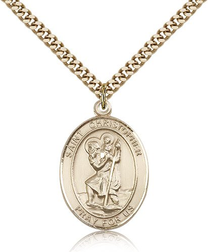St Christopher Medal 14 Karat Gold Filled Large Engravable 81966