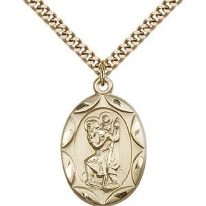 St Christopher Medal 14 Karat Gold Filled Large Engravable 83060