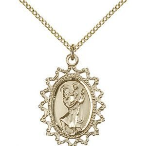 St Christopher Medal - 14 Karat Gold Filled - Large, Engravable (#83103)