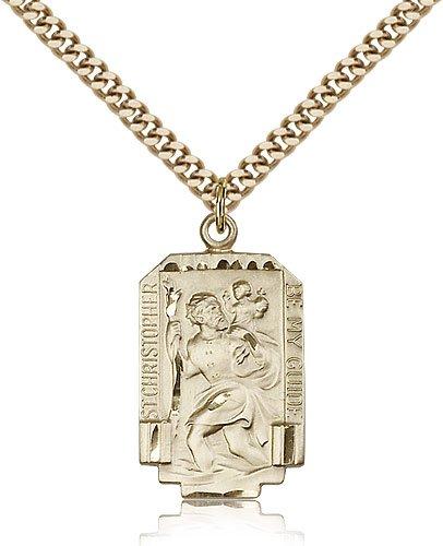 St Christopher Medal - 14 Karat Gold Filled - Large, Engravable (#83217)