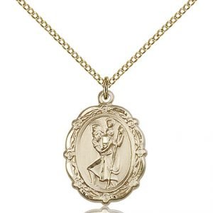 St Christopher Medal 14 Karat Gold Filled Medium Engravable 81792