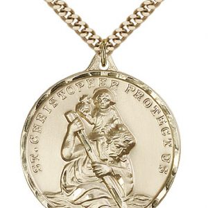 St Christopher Medal 14 Karat Gold Filled Xlarge Engravable 81601