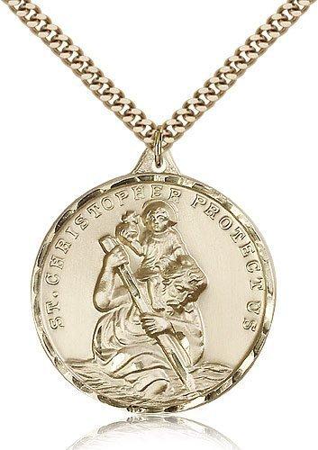 St Christopher Medal 14 Karat Gold Filled Xlarge Engravable 81601