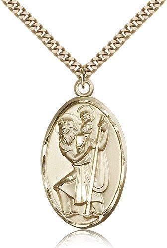 St Christopher Medal 14 Karat Gold Filled Xlarge Engravable 81724