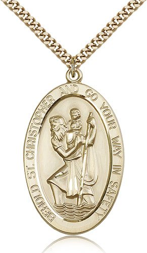 St Christopher Medal 14 Karat Gold Filled Xlarge Engravable 81871