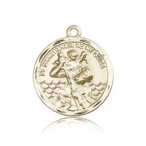 St Christopher Medal 14 Kt Gold Large Engravable 81570