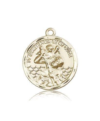 St Christopher Medal 14 Kt Gold Large Engravable 81570