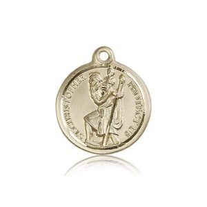 St Christopher Medal 14 Kt Gold Large Engravable 81586