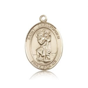 St Christopher Medal 14 Kt Gold Large Engravable 81967