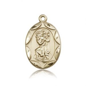 St Christopher Medal 14 Kt Gold Large Engravable 83061