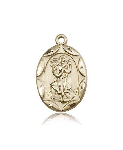 St Christopher Medal 14 Kt Gold Large Engravable 83061