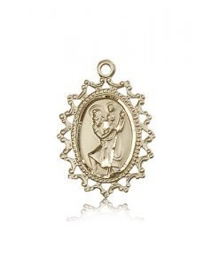 St Christopher Medal - 14 KT Gold - Large, Engravable (#85488)