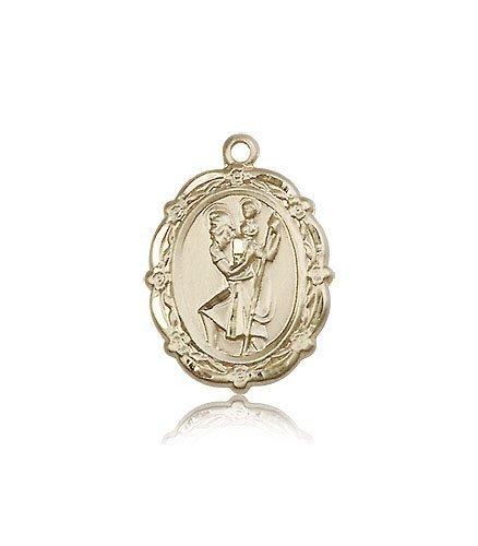 St Christopher Medal - 14 KT Gold - Medium, Engravable (#81793)