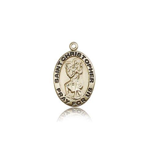 St Christopher Medal - 14 KT Gold - Medium, Engravable (#83110)