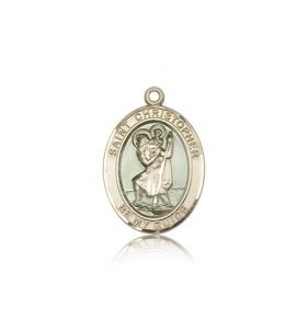 St Christopher Medal - 14 KT Gold - Medium, Engravable (#83332)
