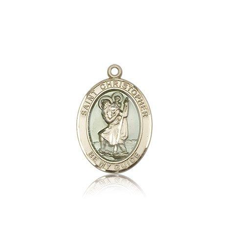 St Christopher Medal - 14 KT Gold - Medium, Engravable (#83332)
