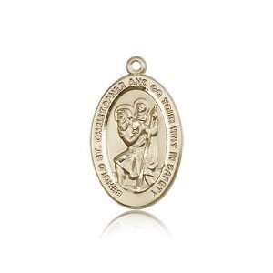 St Christopher Medal 14 Kt Gold Medium Engravable 85499