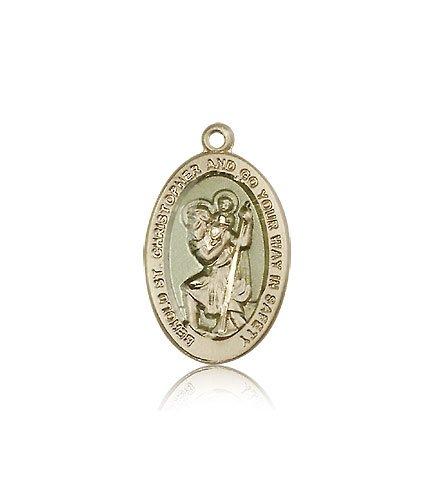 St Christopher Medal - 14 KT Gold - Medium, Engravable (#85501)