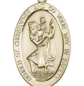 St Christopher Medal 14 Kt Gold Xlarge Engravable 81872