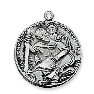 St Christopher Medal Antique Silver 10756