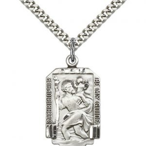 St Christopher Medal Sterling Silver Large Engravable 19036