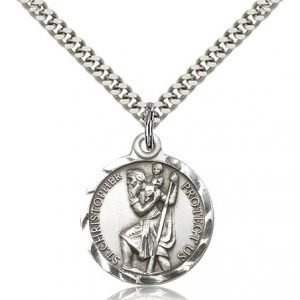 St Christopher Medal Sterling Silver Large Engravable 19253