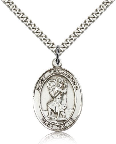 St Christopher Medal Sterling Silver Large Engravable 19278
