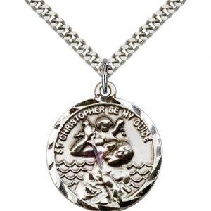 St Christopher Medal Sterling Silver Large Engravable 81571