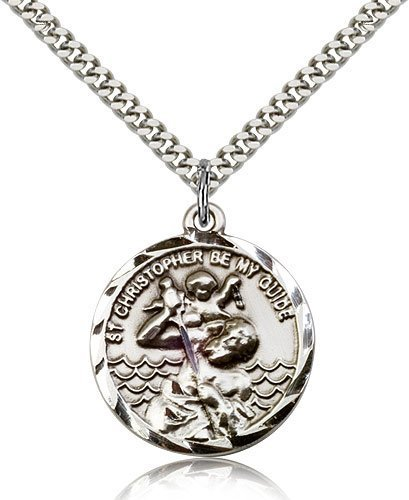 St Christopher Medal Sterling Silver Large Engravable 81571