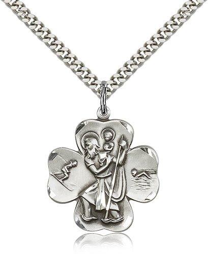 St Christopher Medal Sterling Silver Large Engravable 81772