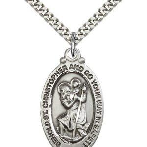 St Christopher Medal Sterling Silver Large Engravable 81781