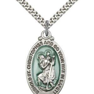St Christopher Medal - Sterling Silver - Large, Engravable (#81782)