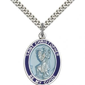 St Christopher Medal - Sterling Silver - Large, Engravable (#81962)