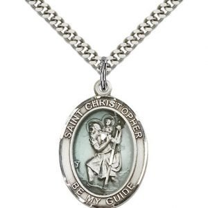 St Christopher Medal Sterling Silver Large Engravable 81965